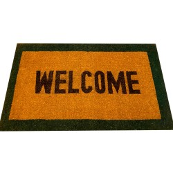 Natural Coconut Doormat Welcome - Green 150×90×3CM